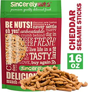Sincerely Nuts Cheddar Sesame Sticks (1 LB)-Delicious, Crunchy, and Savory Treat-Cheddar Cheese Delight- Sesame Seeds-Kosher Certified-Made in the U.S.-Wholesome and Nutritious Snack