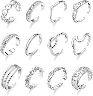 Vegolita 8-12Pcs Open Toe Rings for Women Tail Rings for Girls Wave Knuckle Rings CZ Band Adjustable Foot Jewelry Set