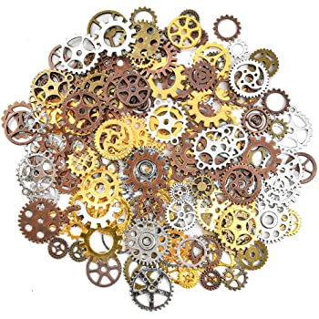 Atpwonz 歯車 大容量 200g 約150個 6色セット 多種類 ギアチャーム 歯車パーツ スチームパンク風 手芸材料 飾り部品 ハンドメイドに最適