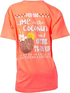 Southern Couture SC Comfort Put The Lime in The Coconut and Drink It All up Classic Fit Adult T-Shirt - Neon Red Orange