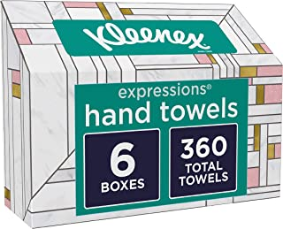 Kleenex Expressions Hand Towels, Single-Use Disposable Paper Towels, 6 Boxes, 60 Towels Per Box (360 Towels Total)