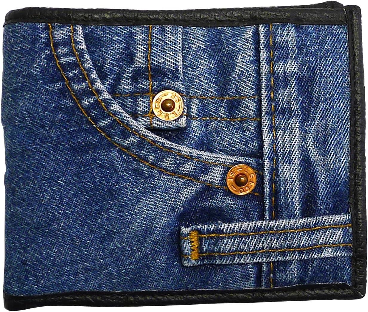 Bijoux De Ja Unisex Blue Denim Small Billfold Purse Wallet