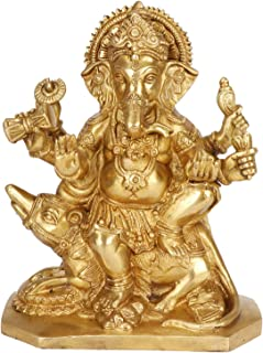 Brass Lord Ganesha Idol for Gift | Ganpati Statue Puja | Home | Office | Decoration | Vinayaka Murti Sitting on Mooshak swari| Golden Finish 8 Inch