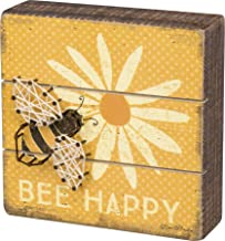 "Primitives by Kathy Slat String Art Box Sign, 6"" x 6"", Bee Happy"