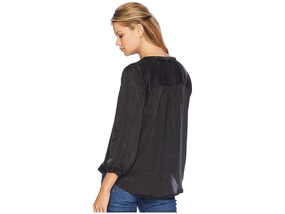 NYDJ Garment Dye Blouse w/ Studs (Black) Women's Blouse