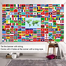 Fdceligoo World Flag Banner International Flags Banner with Metal Grommets for Backdrop Decoration, 5.3 × 3.2 ft