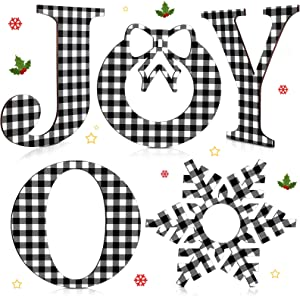 5 Pieces 12 Inch Christmas Buffalo Plaid Joy Letter Sign Rustic Wood Joy Letter Ornament Xmas Signs Rustic Farmhouse Wood Decor for Christmas Holiday Wall Window (Black and White)