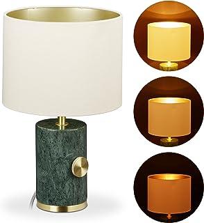 Relaxdays 10032271 Lampe de table en marbre, abat-jour, réglable, E14, éclairage de salon, HxD 34,5 x 21 cm, vert/doré/bei...