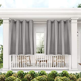 Exclusive Home Curtains Biscayne Indoor/Outdoor Two Tone Light Filtering Grommet Top Curtain Panel Pair, 54x63, Silver