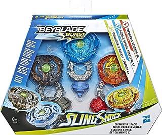 Beyblade Burst Turbo Sling Shock Triple Threat Element-X Pack with Inferno-X Kerbeus K4 Aqua-X Spiral Treptune T4 Mountain-X Galaxy Zeutron Z4 SlingShock