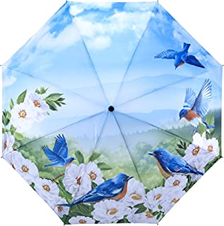 Galleria Blue Birds Auto-Open/Close Extra Large Portable Rain Folding Umbrella