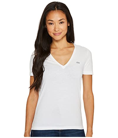 Lacoste Short Sleeve Solid V-Neck Jersey Tee (White) Women
