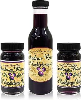 Shadow River Wild Huckleberry Gourmet Sampler Set - 3 oz Jam, 3 oz Honey, 6.5 oz Syrup