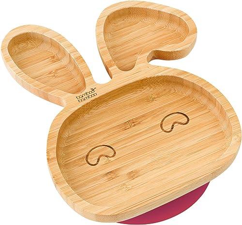 bamboo bamboo® ventouse pour béb&eacute plat d'alimentation &agrave ventouse, en bambou naturel En forme de tecirc te...