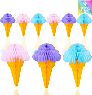 Ice Cream Tissue Paper Honeycomb Ball Hanging Decorations Party Supplies