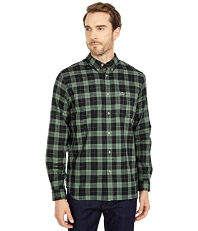 Lacoste Long Sleeve Casual Checked Pattern Chest Pocket Shirt (Black/Minetic Heather) Men