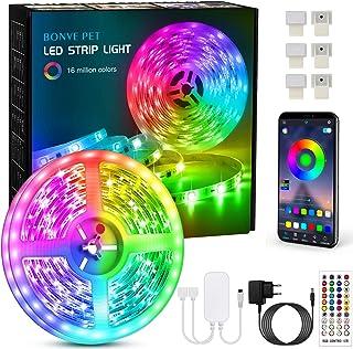 Tiras Led, Bonve Pet 6M Luces Led RGB 5050 Luces Led Habitación Controlas con App y Control Remoto, Tiras led RGB 12V, 16 ...