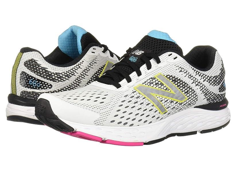 [ニューバランス] レディースランニングシューズ?スニーカー?靴 680v6 White/Black 10 (27cm) B [並行輸入品]