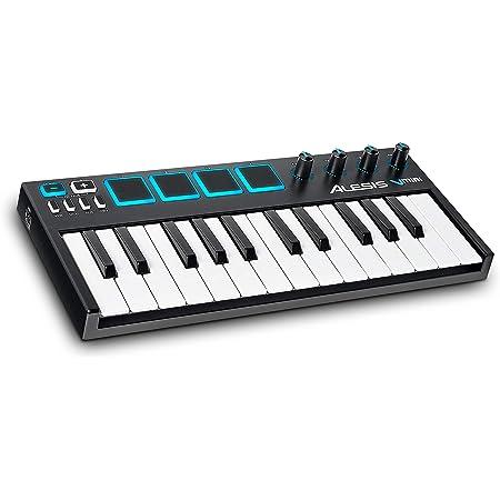 Alesis V-Mini - Teclado Controlador USB MIDI portátil 25 teclas, 4 almohadillas sensibles retroiluminadas, 4 codificadores asignables y un paquete de software profesional con ProTools | First incluido