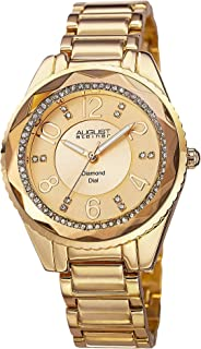 August Steiner Women's Fashion Swiss Watch - Textured Crystal Bezel around Diamond Dial with Big Numbers on Tone Stainless Steel Bracelet