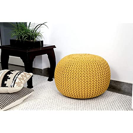 Jindal Cotton Knitted Pouf Ottoman Foot Stool/for Living Room/Bedroom Hall/Pouf Ball Chair/Pouf exterieur Ball/Round Ball (Large,Dusty Rose) (Large, Yellow)