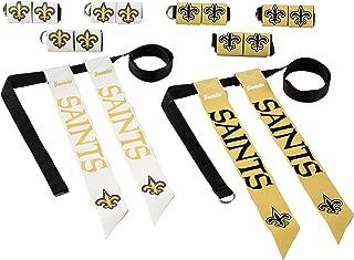 Franklin Sports New Orleans Saints Flag Football Set - 8 Flag Belts - 8 Player - Self Stick Tear-Away Flags - NFL Official Licensed Product