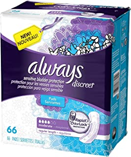 Always Discreet Incontinence Pads, Moderate, Regular Length, 66 Count - 2 Pack (Includes 132 Pads Total.)
