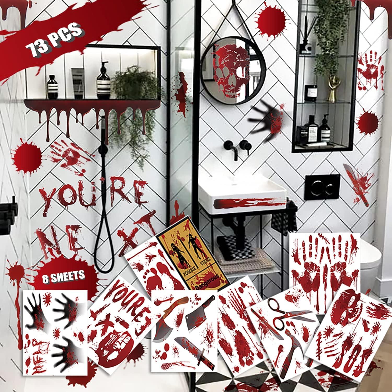 Halloween Bloody Max 81% OFF Stickers Decorations - 73PCS Ranking TOP7 Horror Handprint F