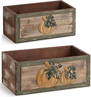Rustic Pumpkin Wood and Metal Decorative Harvest Planters Assorted Set of 2 with Liners