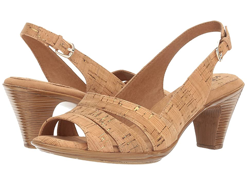 Vintage Sandals | Wedges, Espadrilles – 30s, 40s, 50s, 60s, 70s Comfortiva Neima - Soft Spots Gold Cork Womens Dress Sandals $79.95 AT vintagedancer.com