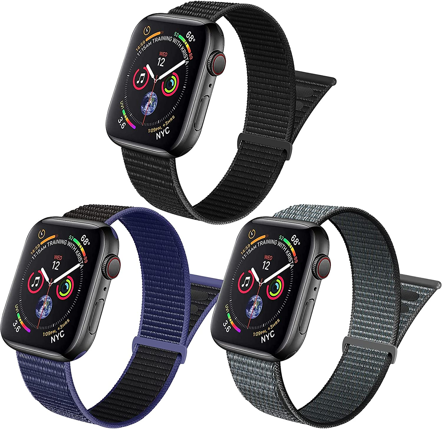 ZUQUEE 3Pack Nylon Loop Compatible with Apple Watch,Stretchy Soft Adjustable Elastic Women Men Sports Straps for Iwatch Series 7/6/5/4/3/2/1/SE,Dark Black/Midnight Blue Black/Storm Gray,42/44/45mm