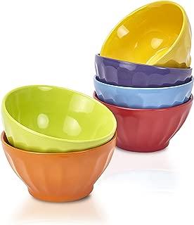 Klikel 6 Pack 18oz Fluted Soup Bowls Set - 6 Bright Solid Colors - Dishwasher And Microwave Safe - Porcelain Dinnerware - Cereal Rice Salad Bowls - Deep Stackable Pet Cat Dog Bowl - 18oz, 5 1/2 Inch R