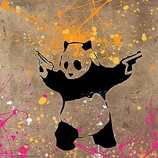 panda with guns print