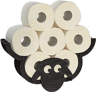DanDiBo Wc-papierhouder schaap muur zwart hout toiletrolhouder wc-rolhouder vervangende rolhouder toiletpapier houder