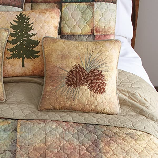 Throw Pillow Wood Patch By Donna Sharp Lodge Decorative Throw Pillow With Pine Cone Pattern Square