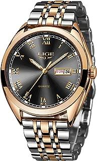 LIGE Luxury Brand Watches for Men Fashion Business Stainless Steel Waterproof Analog Quartz Wrist Watch