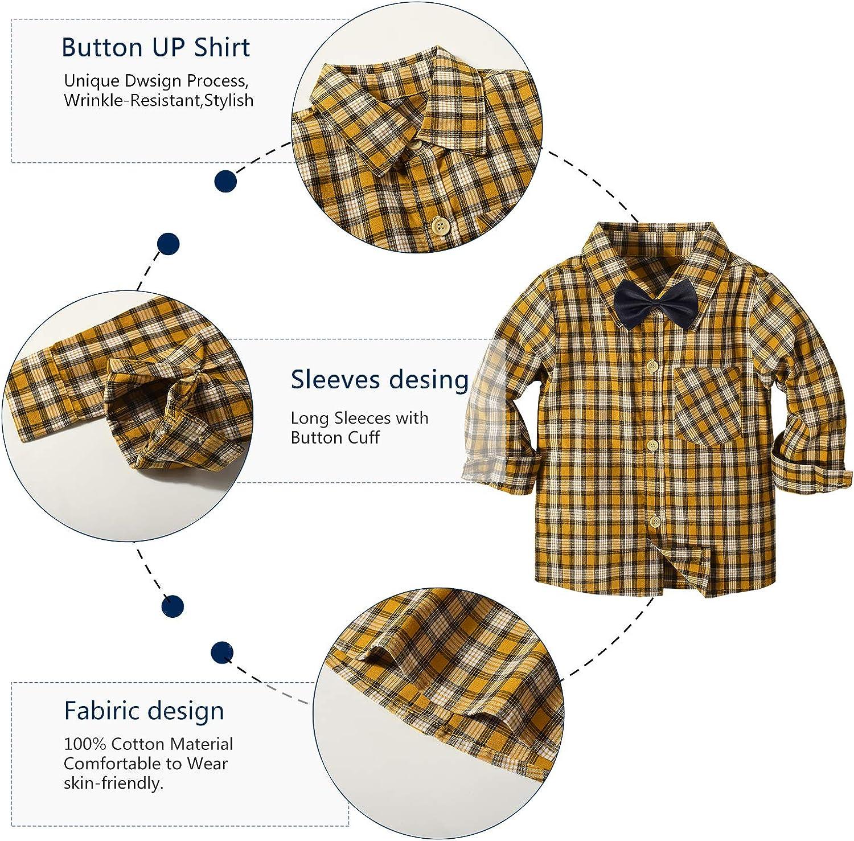 Yilaku Toddler Baby Autumn Casual Suit Boys Plaid Tops+Bow tie+Detachable Suspenders+Bottons 4Pcs Gentleman Outfits