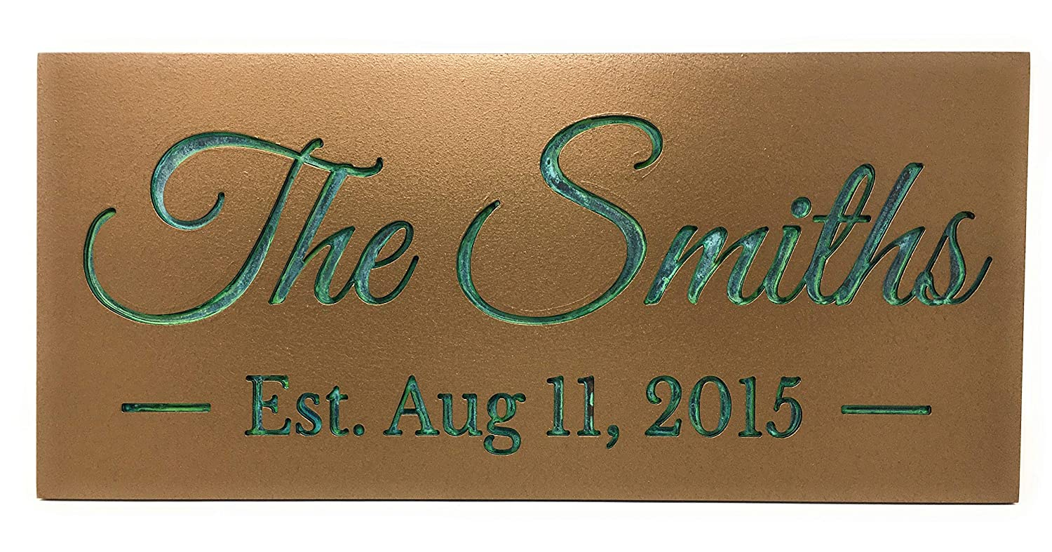 Personalized Wedding sign.Bronze Verdigris.Established Store family si Cheap