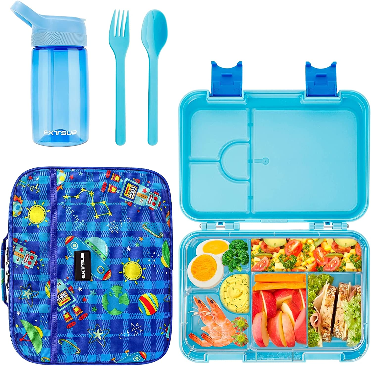 EXTSUD Lunch Box for Kids, 29 oz. Leak-Proof Bento-Style Kids Lunch Containers with Insulated Cooler Lunch Bag and Water Bottle, Durable BPA-Free 4/6 Compartment Snack Food Meal Prep Container Boxes