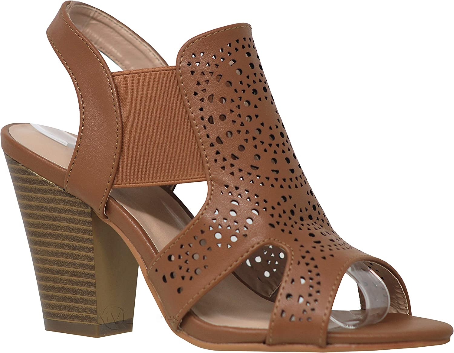 MVE shoes Womens Stylish Comfortable Open Toe Cut Out Heeled Sandal
