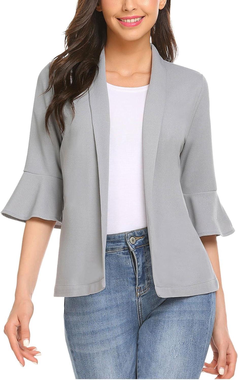Gfones Women's Casual Open Front Work Office Jacket Ruffles 3 4 Sleeves Blazer