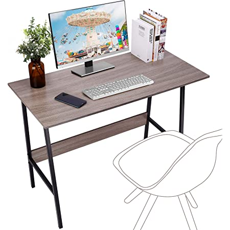 """Viewee Computer Student Desk, Easy Assembly, Laptop Study Table 39"""" Home Office Writing Desk with Table Edge Protectors, Sturdy Desk with Trapezoidal Structure & Wood Block Support, Sand Wash Tan"""