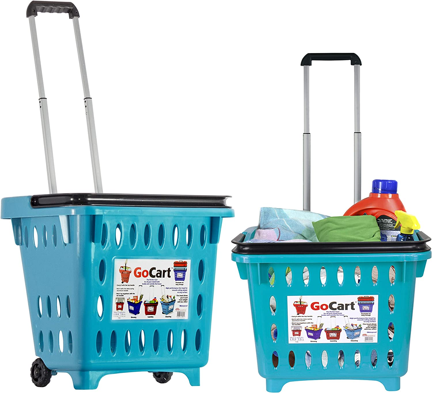 dbest products Bigger Gocart 5 Pack Grocery Cart Rolling Shopping Laundry Basket on Wheels Hamper with Telescopic Handle Cleaning Caddy Trolley 5 Count Teal