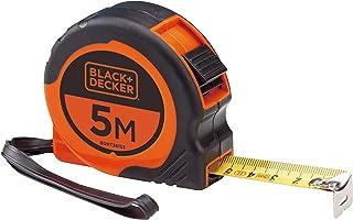 Black+Decker 5m x 19mm Bi-Material Short Retractable Tape with Belt Clip , Orange/Black - BDHT36153, 2 Years Warranty