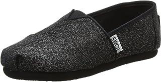 TOMS Unisex-Child Espadrille Loafer Flat, Black Iridescent Glimmer, 13 Big Kid