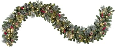 """Haute Decor Indoor/Outdoor, 9' x 12"""" Pre-lit Christmas Garland with 100 Warm White LED Lights, Mixed Greenery, Faux Berries a"""