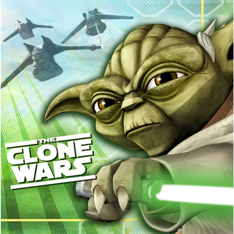 Yoda holding a light saber