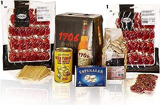 PACKS SNACKS + CERVEZAS (6 cervezas 1906, 2 sobres lóncheados paleta ibérica, fuet loncheado, queso manchego loncheado, berberechos, aceitunas rellenas de anchoa y picos rústicos.