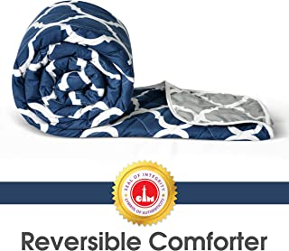 Divine Casa Microfibre Comforter/Blanket/Quilt/Duvet Lightweight, All Weather, Reversible Single Comforter, Navy Blue and ...