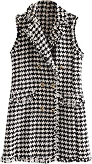 Women's Double Breasted Houndstooth Tweed Coat Vest Outerwear